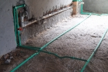 Serviços de água quente, esgoto e água fria concluído.